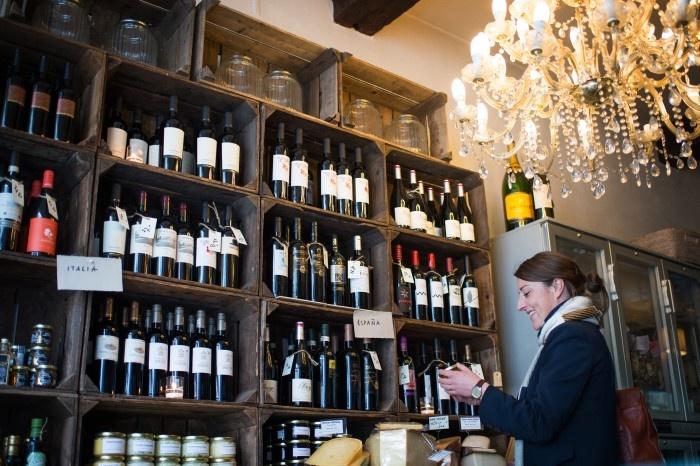 Woman in a wine shop