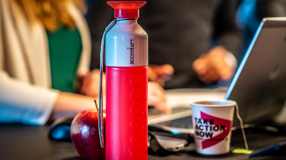 Red accenture water bottle