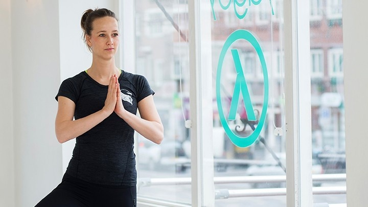 Woman posing in yoga pose