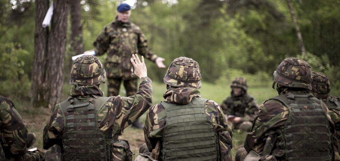 Oefening in een bos